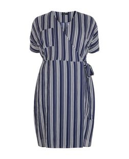 Curves Blue Stripe Wrap Midi Dress | New Look