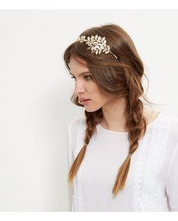 Gold Oversized Leaf Headband | New Look