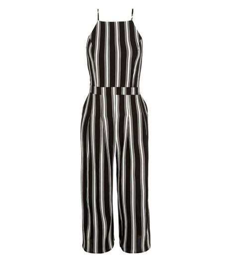 Monochrome Stripe High Neck Culotte Jumpsuit  | New Look