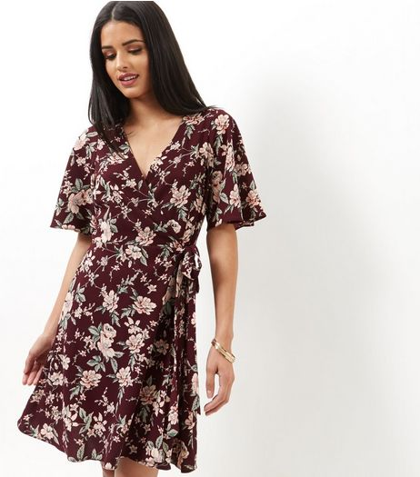 Red Floral Print Tie Wrap Front Dress  | New Look