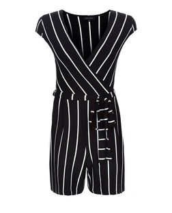 Black Stripe Cap Sleeve Tie Waist Playsuit  | New Look