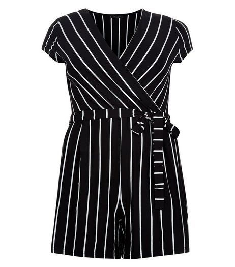 Curves Black Stripe Wrap Playsuit | New Look