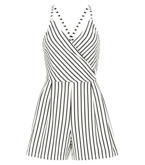 White Stripe Wrap Front Strappy Playsuit  | New Look