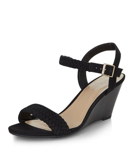 Black Canvas Plaited Strap Wedge Sandals  | New Look