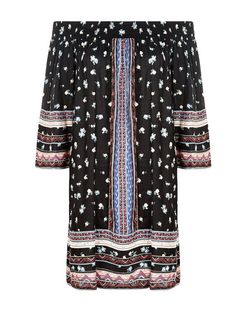 Black Ditsy Floral Embroidered Bardot Neck Tunic | New Look