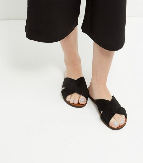 Wide Fit Black Suede Cross Strap Mules  | New Look