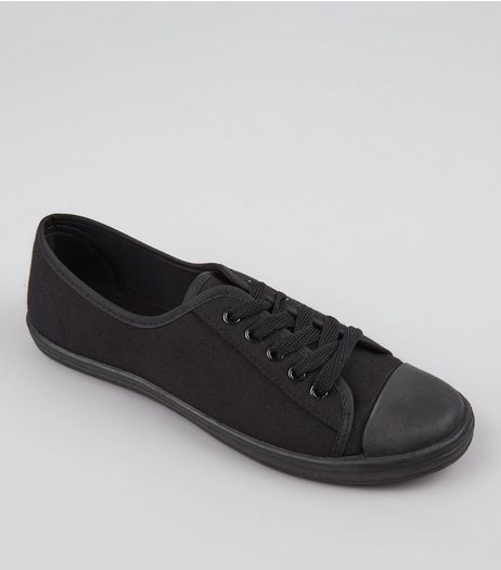 Teens Black Lace Up Plimsolls | New Look