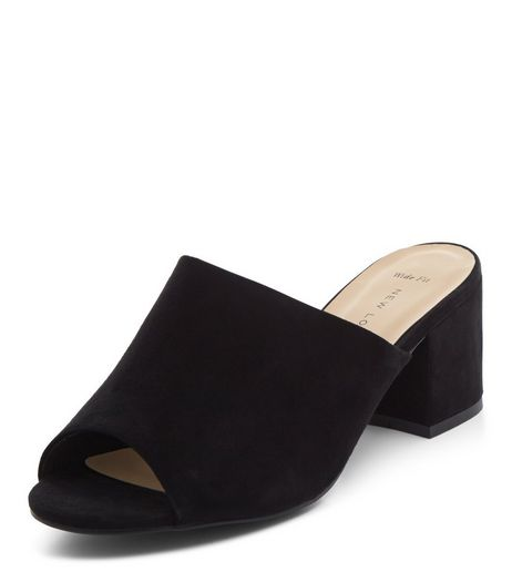 Wide Fit Black Peep Toe Block Heel Mules  | New Look
