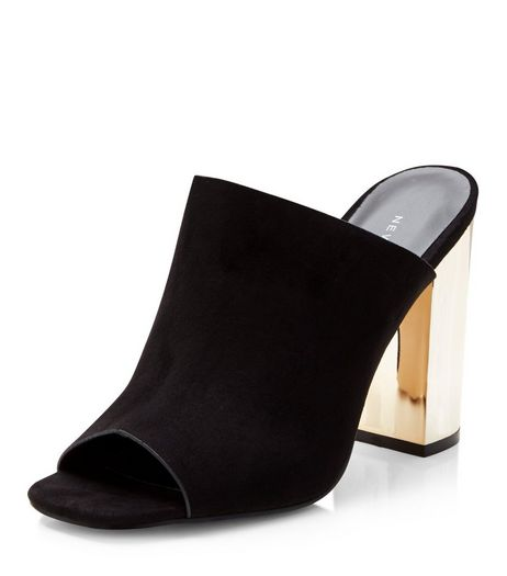 Black Suedette Peep Toe Metal Block Heel Mules  | New Look