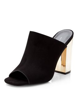 Black Suedette Peeptoe Metal Block Heel Mules  | New Look