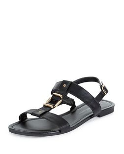 Teens Black Metal Trim Sandals | New Look
