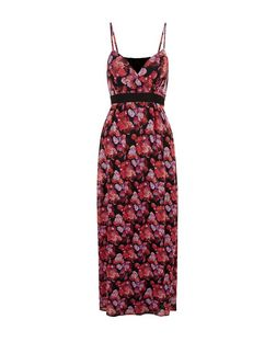 Mela Black Rose Print V Neck Maxi Dress | New Look