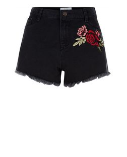 Black Rose Embroidered Fray Hem Denim Shorts  | New Look