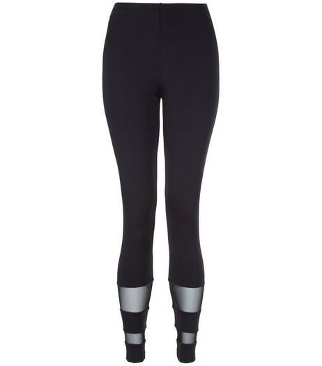 Teens Black Mesh Panel Leggings | New Look