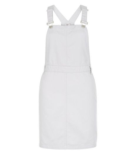 Pale Blue Cotton Dungaree Pinafore Dress  | New Look