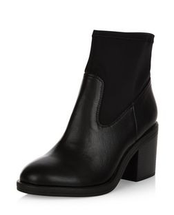 Wide Fit Black Elasticated Block Heel Boots  | New Look