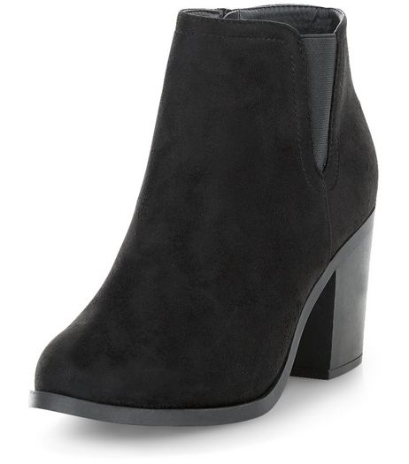 Black Suedette Block Heel Western Boots  | New Look