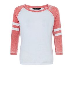 Teens Mid Pink Stripe Sleeve Raglan Top  | New Look