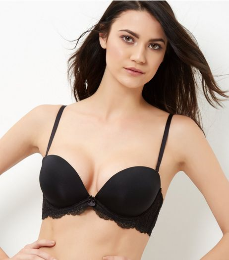 Black Lace Trim Plunge Strapless Bra | New Look
