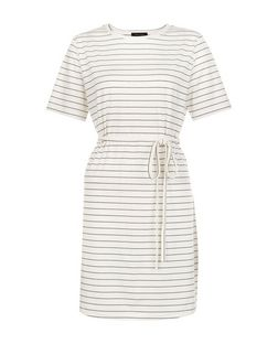 White Stripe Tie Waist Tunic Dress  | New Look