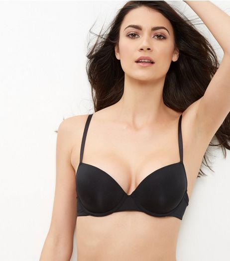Black Microfibre T-Shirt Bra | New Look