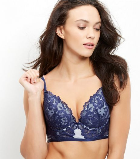 Navy Lace Longline Push Up Bra | New Look