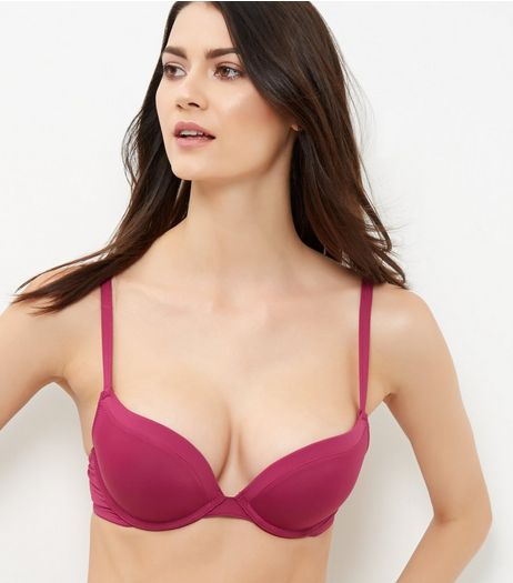 Red Microfibre Push Up Bra | New Look