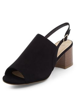 Wide Fit Black Suedette Sling Back Block Heels | New Look