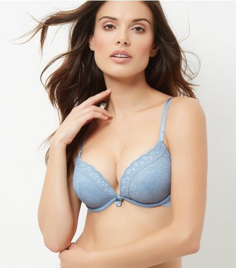Pale Blue Lace Push Up Bra | New Look