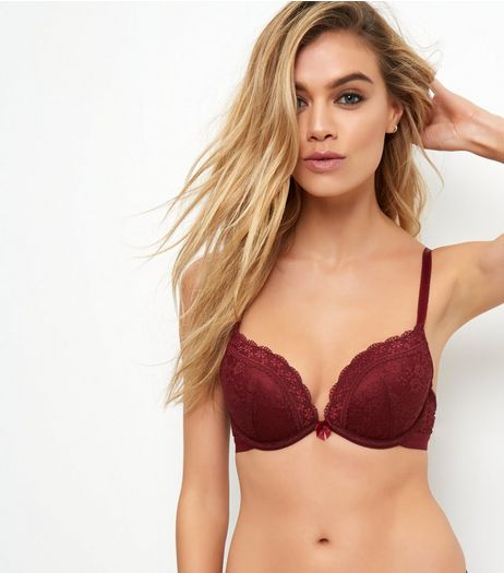 Dark Red Lace Push Up Bra | New Look