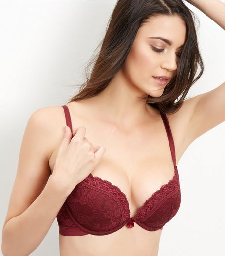 Burgundy Lace Push Up Bra  | New Look
