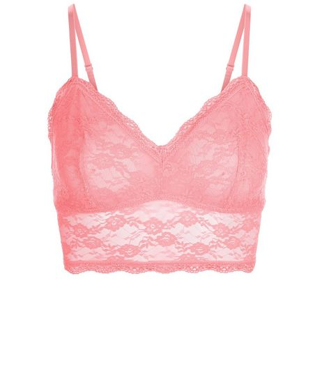 Mid Pink Lace Longline Bralet | New Look