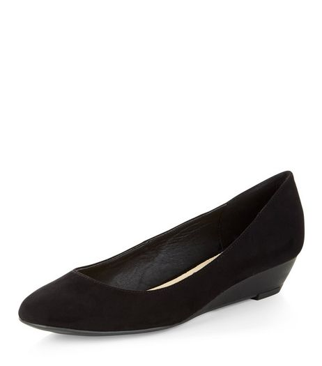 Black Comfort Suedette Wedge Pumps  | New Look