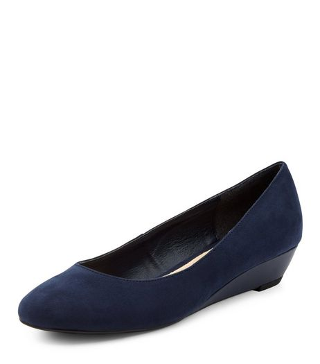 Navy Comfort Suedette Wedge Pumps | New Look