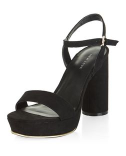 Black Suedette Ankle Strap Platform Block Heels  | New Look