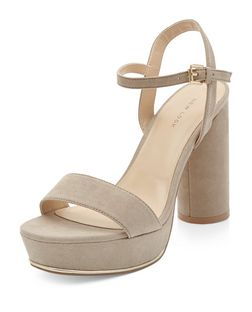 Light Brown Suedette Ankle Strap Platform Block Heels  | New Look