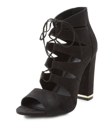 Black Suedette Ghillie Metal Trim Block Heels  | New Look