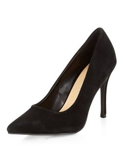 Black Suede Pointed Heels  | New Look