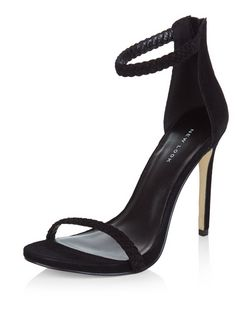 Black Leather Plaited Ankle Strap Heels  | New Look