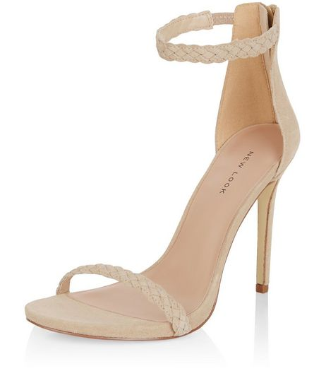 Nude Leather Plaited Ankle Strap Heels  | New Look