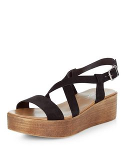 Black Leather Strappy Flatform Sandals  | New Look
