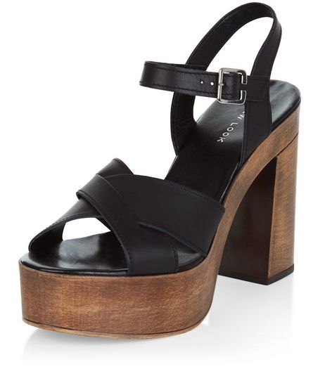 Black Leather Cross Strap Wooden Platform Heels  | New Look