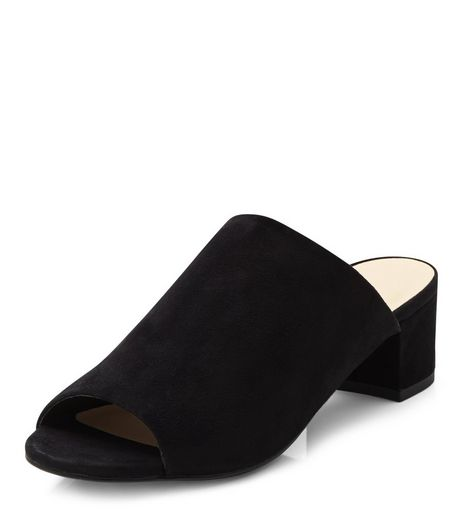 Black Suedette Peep Toe Mid Heel Mules  | New Look