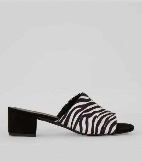 Black Zebra Print Mules | New Look