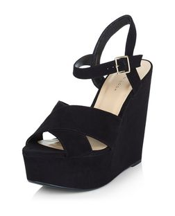 Black Suedette Cross Strap Platform Wedges  | New Look