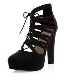 Black Suedette Ghillie Platform Heels  | New Look