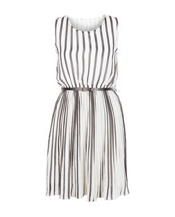 Mela White Stripe Pleated Dress | New Look