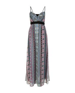 Mela Black Aztec Stripe Print Maxi Dress | New Look