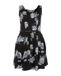 Mela Black Rose Print Belted Sleeveless Dress | New Look