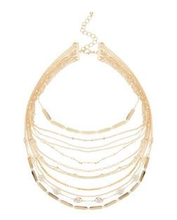 Gold Layered Filigree Chain Necklace | New Look
